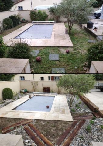 Aménagement de tour de piscine, lame d'eau, traverses paysagères